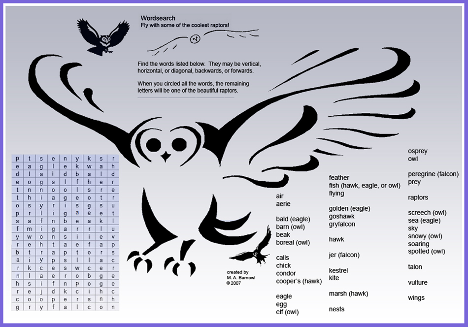 Raptor Word Search