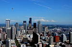 Seattle Flyby, stock photo